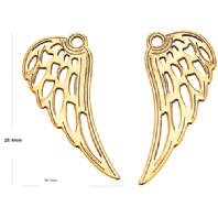 A pair 18K Gold Plated Sterling Silver Angel Wings Charm